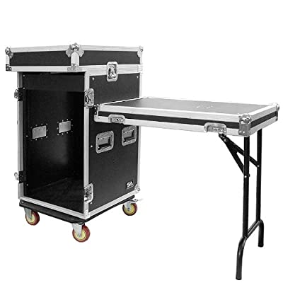 Seismic Audio - SAMRWT-16U - 16 Space Rack Case with 10 Space Slant Mixer Top and DJ Work Table - PA/DJ Pro Audio Road Case - 16U by Seismic Audio