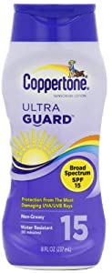 Coppertone UltraGuard Sunscreen Lotion, SPF 15, UVA/UVB Protection, Waterproof, 8-Ounce