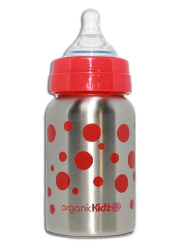 Organickidz Wide-Mouth Baby Bottle, Red Dots, 9 Ounce
