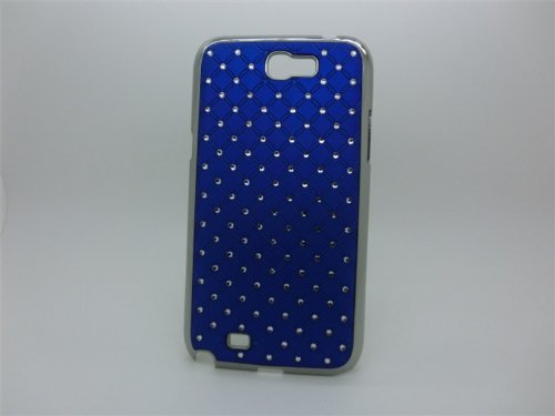 Maclogy 2014 Latest Fashion Design Luxury Dazzling Rhinestones Shiny Crystal Diamond Plating Protective Shell Trapped Difficult Cases Samsung Galaxy Note2 Note 2 Ii N7100 N7105 And Fashion Chain Crystal Ornaments Color Uv Radiation Gifts (Blue)