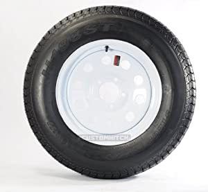 "eCustomRim Trailer Tire + Rim ST205/75D14 2057514 F78-14 14"" Load Range C 5 Lug Wheel White Modular"