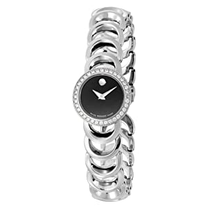 Movado Women's 606251 Rondiro Stainless-Steel with Diamonds Black Round Dial Watch