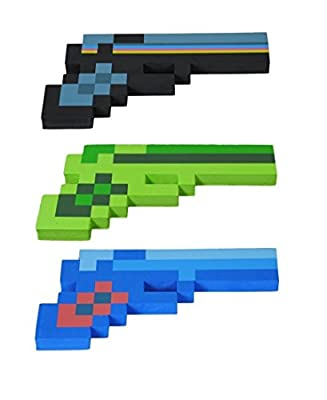 8 Bit Pixelated Blue Diamond, Black Stone & Green Zombie Foam Gun Set of 3 from 8BIT TOYS