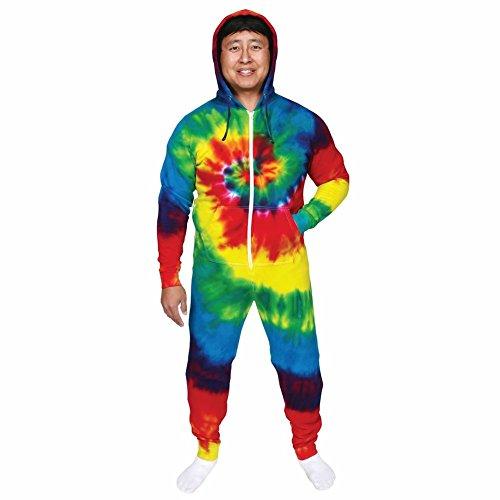 Unisex-Adult Tie-Dye Hoodie Sweatshirt Jumpsuit - Rainbow