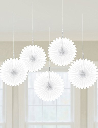 "Amscan Frosty Mini Hanging Fan, 6"", White"