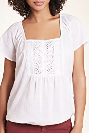 Pure Cotton Broderie Bib Front Gypsy Top [T41-7584F-S]