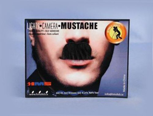 HMS Adult Charlie Chaplin Synthetic Hair Moustache, Black - 1