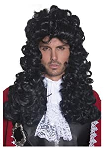 Smiffy's Men's Pirate Captain Wig Long and Curly, Black, One Size