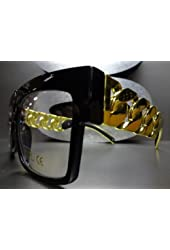 New Fashion Black Frame with Clear Celebrity Gold Chain Style Sunglasses