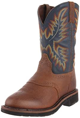 Justin Original Work Boots Men's Stampede Work Boot,Copper Kettle Rowdy/Steel Blue,6 D US
