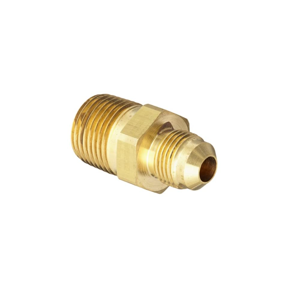 Eaton Aeroquip 2000 8 6B Brass Flared Tube Fitting, Adapter, 3/8 Male SAE 45 Degree x 1/2 Male Pipe Thread