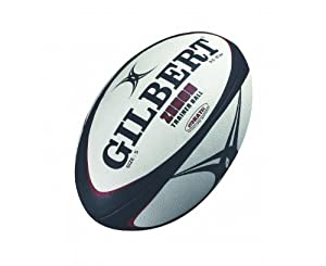 Gilbert Zenon Trainer Rugby Ball (Black/Scarlet, Size-5)