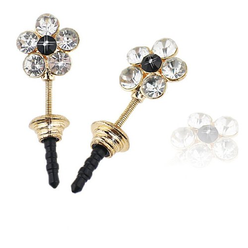 Ancerson Bling Shining Spring Golden Flower Crystal Diamond Rhinestone Universal Fashion 3.5Mm Anti Dust Earphone Jack Plug Stopper For Ipod Touch 2 3 4 5, Iphone 3 3G 3S 4 4S 5 5C 5S,Samsung Galaxy S4 I9500/ S4 Mini/ S5 I9600/ S3 I9300/ S2/ Grand 2/ Note