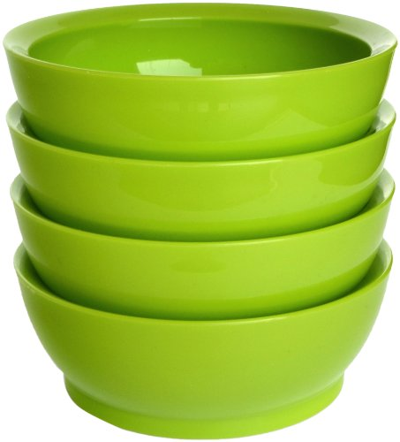 CaliBowl Non-Spill 28-Ounce Low Profile Bowl with Non-Slip Base, Set of 4, Green