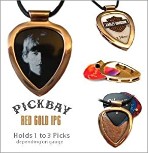 PICKBAY Red Gold IPG Guitar PICK Holder pendant w Licensed George Harrison Guitar pick (The Beatles) w 27' adjustable 2mm leather cord necklace