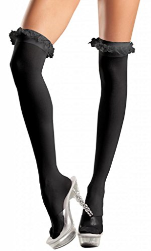 Costume Adventure Women's Black Sheer Thigh High Stockings with Ruffle Top