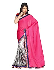 Abida Printed Crepe Chiffon Pink And White Color Saree