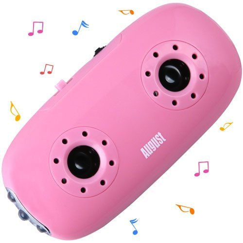August MB100P Pocket MP3 Player with Integrated Stereo Speakers and LED Flashlight - Pink