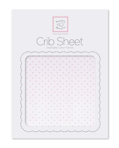 Swaddledesigns Cotton Flannel Fitted Crib Sheet, Pastel Polka Dots, Pastel Pink