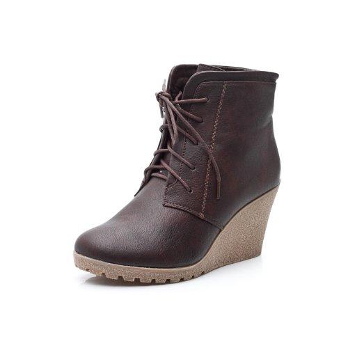 Reneeze CHERRY-2 Women High Heel Wedge Ankle Boots - Brown