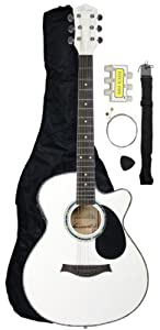 Barcelona Thinline Cutaway Folk Acoustic-Electric Guitar with Accessories - White