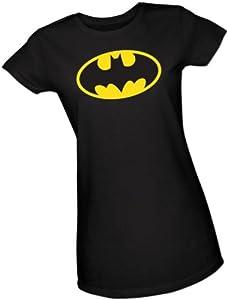 Batman Classic Logo Crop Sleeve Fitted Juniors T-Shirt