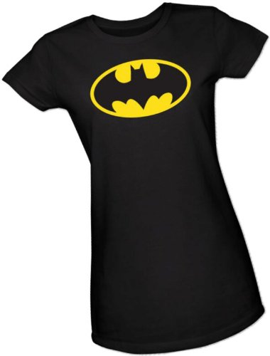Batman Classic Logo Crop Sleeve Fitted Juniors T-Shirt