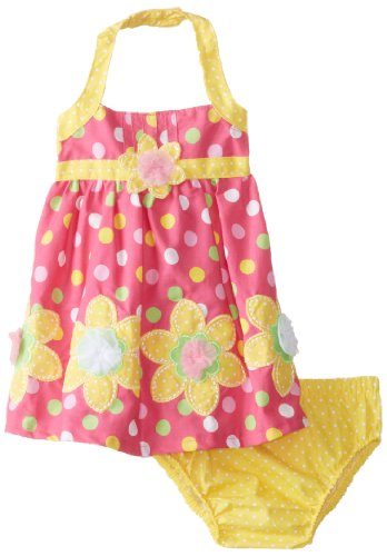 Nannette Baby-Girls Newborn 2 Piece Flower Polka Dot Dress Set, Rose Azalea, 3-6 Months