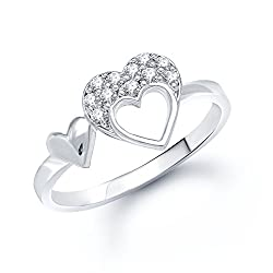 V. K. Jewels Double Heart (Cz) Rhodium Plated Ring For Women - Fr1025R Size 16 [Vkfr1025R16]