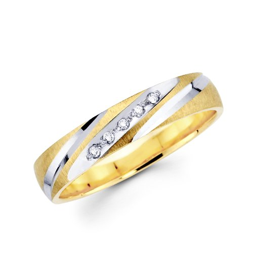 14K 2 Two Tone Gold Round Diamond Women's Wedding Band Ring (1/16 ctw., GH, SI) - Size 4.5