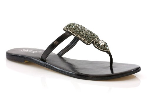 Cheap Unze Women Rhinestone Detailing Panel Thong Summer Party, Evening, Wedding Slipper – Am015 (B002UIK1F4)