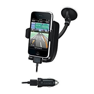 Kensington Mount with Sound Ampllifying Cradle and Car Charger for iPhone