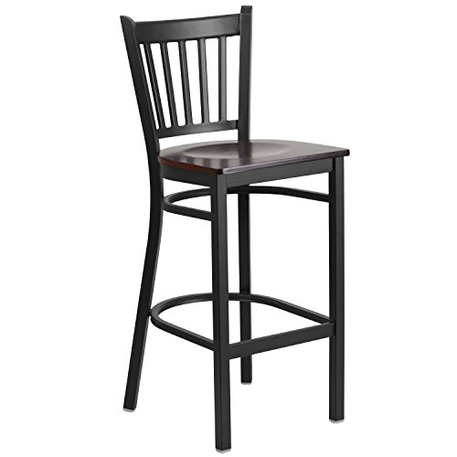 Flash Furniture Hercules Series Vertical Back Metal Restaurant Barstool with Walnut Wood Seat, Black (Black Wood Bar Stools compare prices)