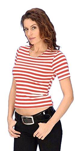 Enges Shirt geringelt rot weiß gestreift-38