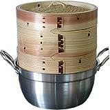 杉蒸篭(せいろ)18センチ2段鍋つきセット
