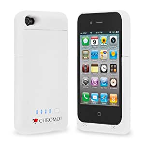 Chromo Inc. iPhone 4 4S Battery Case 1900mAh Ultra Slim White, Bonus Screen Protector