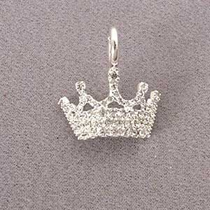 Buy Small Regal Crown Pet Necklace Charm : Clasp ROUND CLASP : Finish 23K GOLD : Code CRW5540C