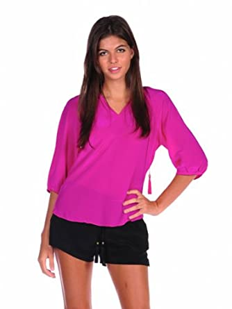 Luna by Josandra Womens Peasant Blouse - Hot pink - Large