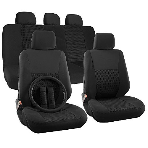 OxGord 17pc Set Flat Cloth Mesh Solid Black Wide Stripe Seat Covers Set - Airbag Compatible - Front Low Back Buckets - 50/50 or 60/40 Rear Split Bench - 5 Head Rests - Universal Fit + Steering Wheel Cover (2006 Dodge Grand Caravan Hubcaps compare prices)