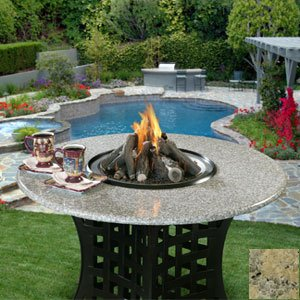 Lacosta - Black - Fire Pit - Gas Logs - Sunset Gold Granite - Natural Gas