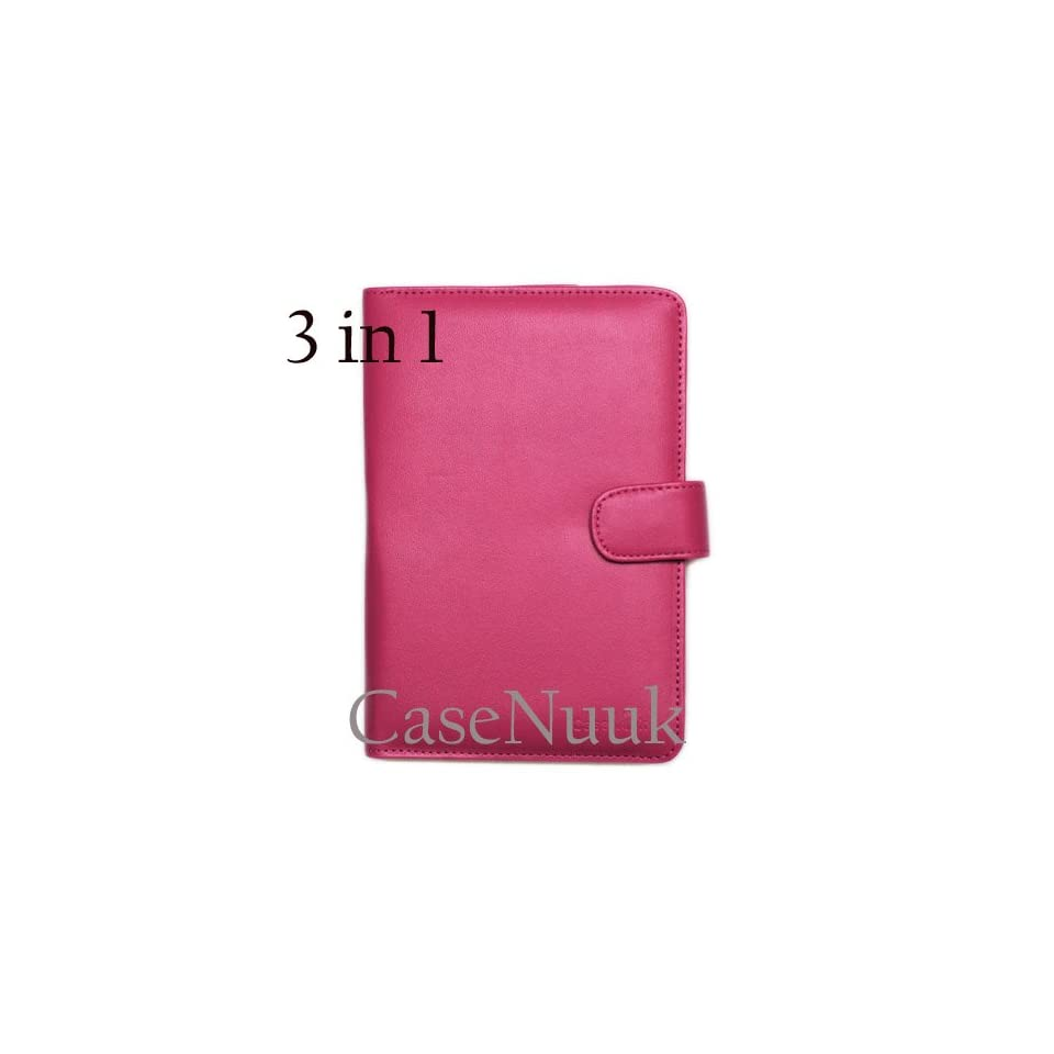 Hot Pink Kindle Fire Folio Case Cover w/ Screen Protector & Stylus
