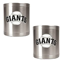 San Francisco Giants 2pc Stainless Steel Can Holder Set- Primary Logo MLB Baseball