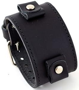 856a83205f8 Nemesis  LBB-KK Wide Black Leather Cuff Wrist Watch Band with Black  Stitching