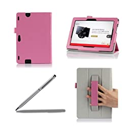 ProCase New Kindle Fire HDX 8.9 Tablet Case with bonus stylus pen - Tri-Fold Leather Stand Cover for Kindle Fire HDX 8.9 inch Tablet (will only fit New Kindle Fire HDX 8.9 2013 released) (Pink)