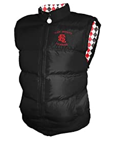 Flow Puffer Vest Black with Red/White Argyle inside Youth Size Large