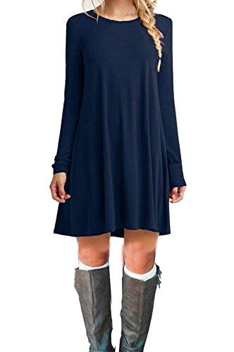 MOLERANI Women's Casual Plain Long Sleeve Simple T-shirt Loose Dress (M, Navy Blue)