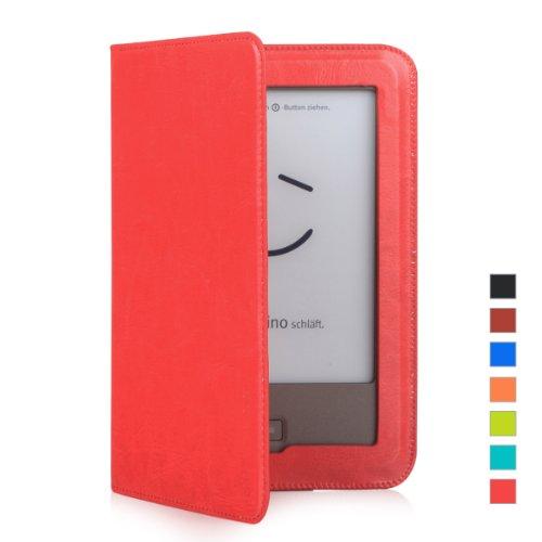 Mulbess Tolino Shine Premium Leder Schutzhülle Hülle Tasche Lederhülle Sleeve Cover für Tolino Shine Farbe Rot