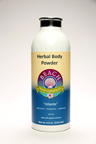 Talc Free Organic Body Powder, Atlantis Scent (Patchouli, Bergamot, Oakmoss Essential Oils). Made and sold by Beach Organics. 4.2 oz.