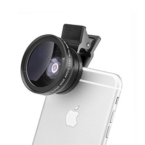 E-More 2 in 1 クリップ式 スマホ 望遠レンズ カメラレンズキット 0.45x広角レンズ+12.5xマイクロレンズ iPhone 6S、 6S Plus、Samsung Galaxy、Windows,Android、スマホ、タブレットPC用