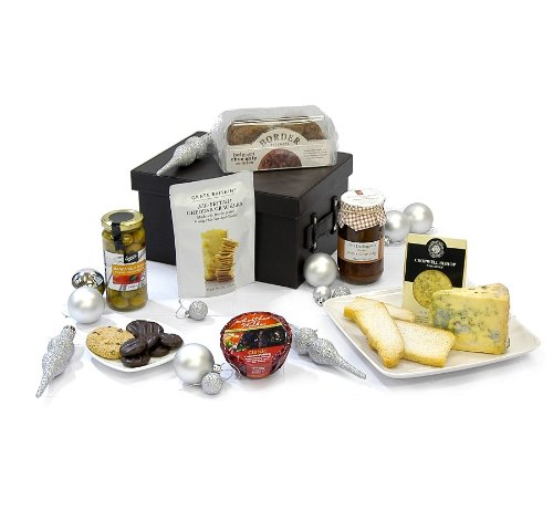 Gents Luxury Faux Leather Hamper Gift Set - Includes Cropwell Bishop Blue Stilton Cheese Wedge and more